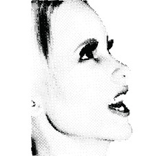 Halftone female face vector