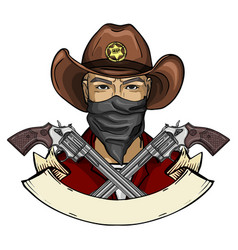Hand drawn sketch cowboy icon vector