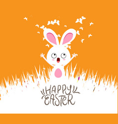 happy easter cards with eggs and bunny vector image