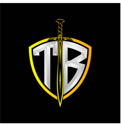 Initials t b is a shield decorated vector