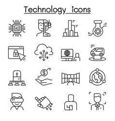 innovation future technology icon set in thin vector image