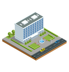 isometric modern business center with parking and vector image