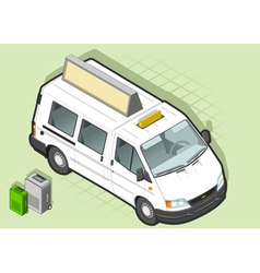 Isometric white taxi van with some bags vector