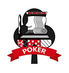 King of club card poker ribbon symbol vector