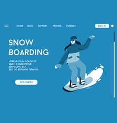 landing page snowboarding concept vector image