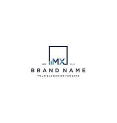 Letter mx square logo finance design vector