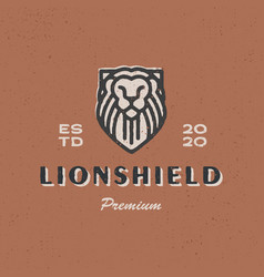 lion shield vintage logo icon vector image