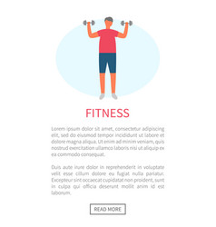 man with dumbbells morning exercise and sport vector image