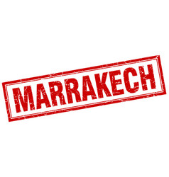 Marrakech red square grunge stamp on white vector