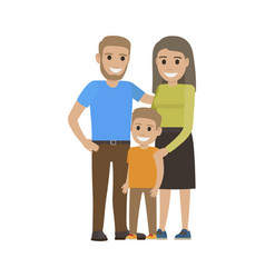 Married couple in casual cloth and little son vector