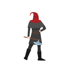 Medieval executioner man with red headwear and vector