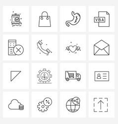 mobile ui line icon set 16 modern pictograms vector image