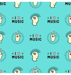 Music seamless pattern Hand Rock N Roll Sign Punk vector image