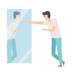 Narcissistic man character looking at mirror and vector