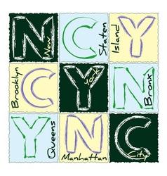 NYC print design district 3 vector