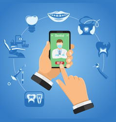 Online dentistry concept vector