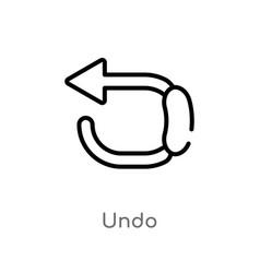 Outline undo icon isolated black simple line vector