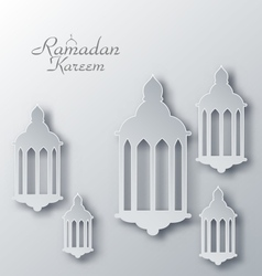 Paper Arabic Lamps with Shadows for Ramadan Kareem vector image vector image