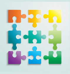 Paper flat puzzle template layout vector
