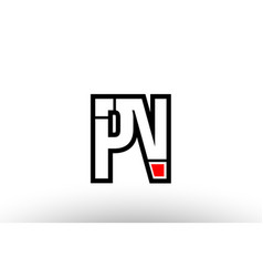red and black alphabet letter pn p n logo vector image