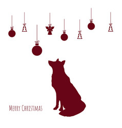red silhouette fox with christmas balls vector image