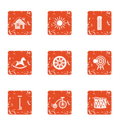Residential building icons set grunge style vector
