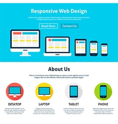 Responsive Flat Web Design Template vector