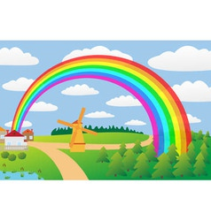 Rural landscape with a rainbow vector image