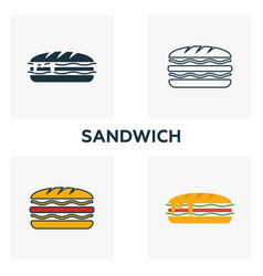 Sandwich icon set four elements in diferent vector