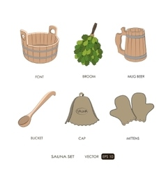 Sauna set Sauna accessories vector