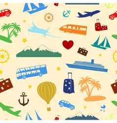 Seamless colored pattern on travel and tourism vector image