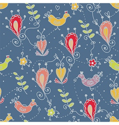 Seamless floral pattern with birds ethnic motives vector image