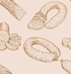 Seamless sausages vector