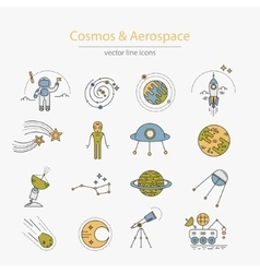 Set cosmos and aerospace icons vector