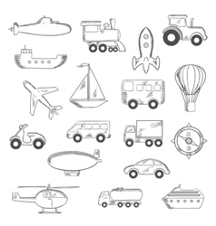 Set of isolated sketched transportation icons vector