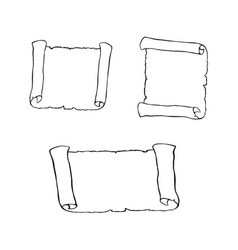 set of sketches of ancient scroll isolated on vector image