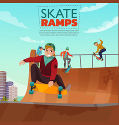skate ramp cartoon vector image