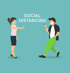 Social distancing example for greeting to avoid vector