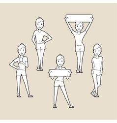 Sport women silhouettes set vector