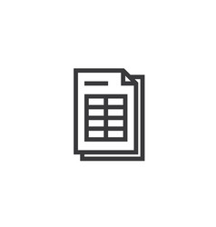 Spreadsheet document paper outline icon isolated vector