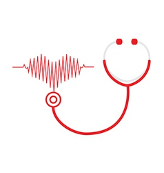 Stethoscope and a heart beats vector