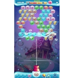 Sweet world mobile GUI game window bubble shooter vector