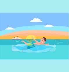 swimming sport activity man in shorts swims ocean vector image