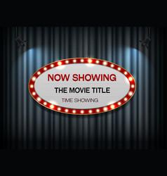 Theater sign ellipse on curtain vector