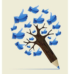 Thumb up ok concept pencil tree vector