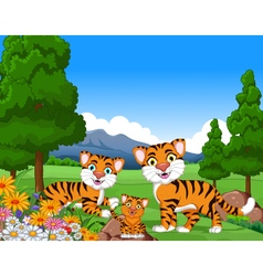 Tiger cartoon family in the jungle vector