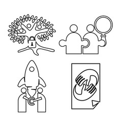 tree rocket puzzle commitment teamwork together vector image
