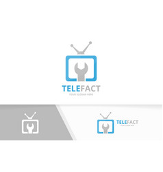 Tv logo combination television and repair vector