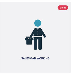 Two color salesman working icon from people vector