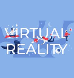 Virtual reality lettering cartoon futuristic vector